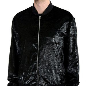 "Hugo Boss ""Bestino1912"" Black Velour Bomber Jacket"